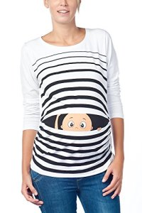 Vêtement de Maternité Humoristique T-Shirt Mignon à Motifs Cadeau pour Grossesse Femme Humour Tee Haut Vetement de Maternite à Manches Longues (Blanc, Medium)