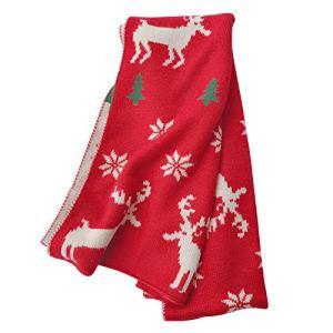 Wankting Femmes Hiver Cachemire Noël Flocon de neige Imprimé Flocon de neige Chaud – Rouge – taille unique