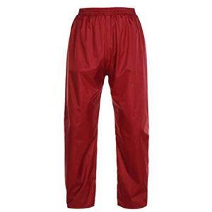 Wetry Pantalon de Pluie Adulte Homme Femme Respirant Pantalon Imperméable Moto Velo Outdoor Vin Rouge Monocouche/2XL