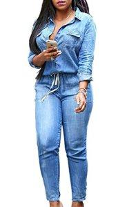 YACUN Femme Combinaison boutonnée pour Combinaison Denim Jeans Bodysuit Blue 3XL