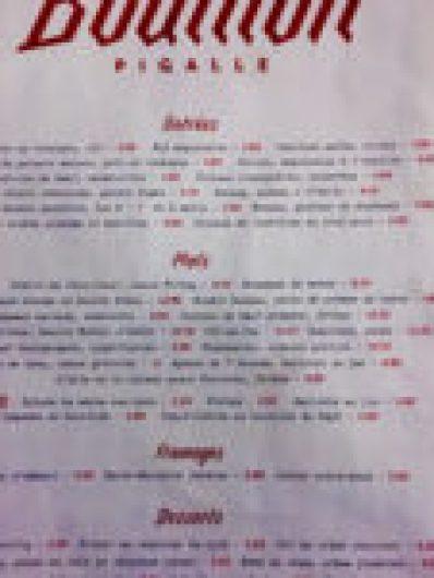 Bouillon Pigalle menu