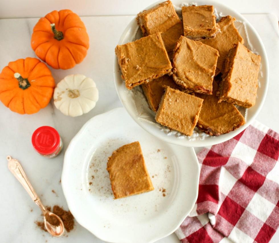 Pumpkin Bars with Oat-Date Crust