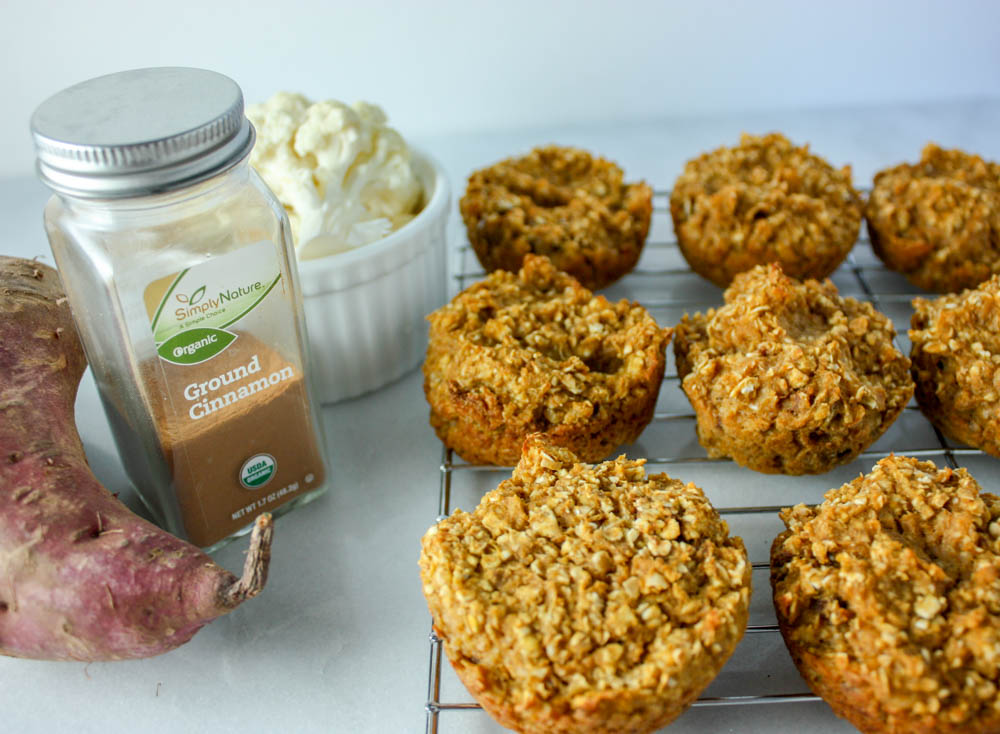 Sweet Potato and Cauli Oat Cups