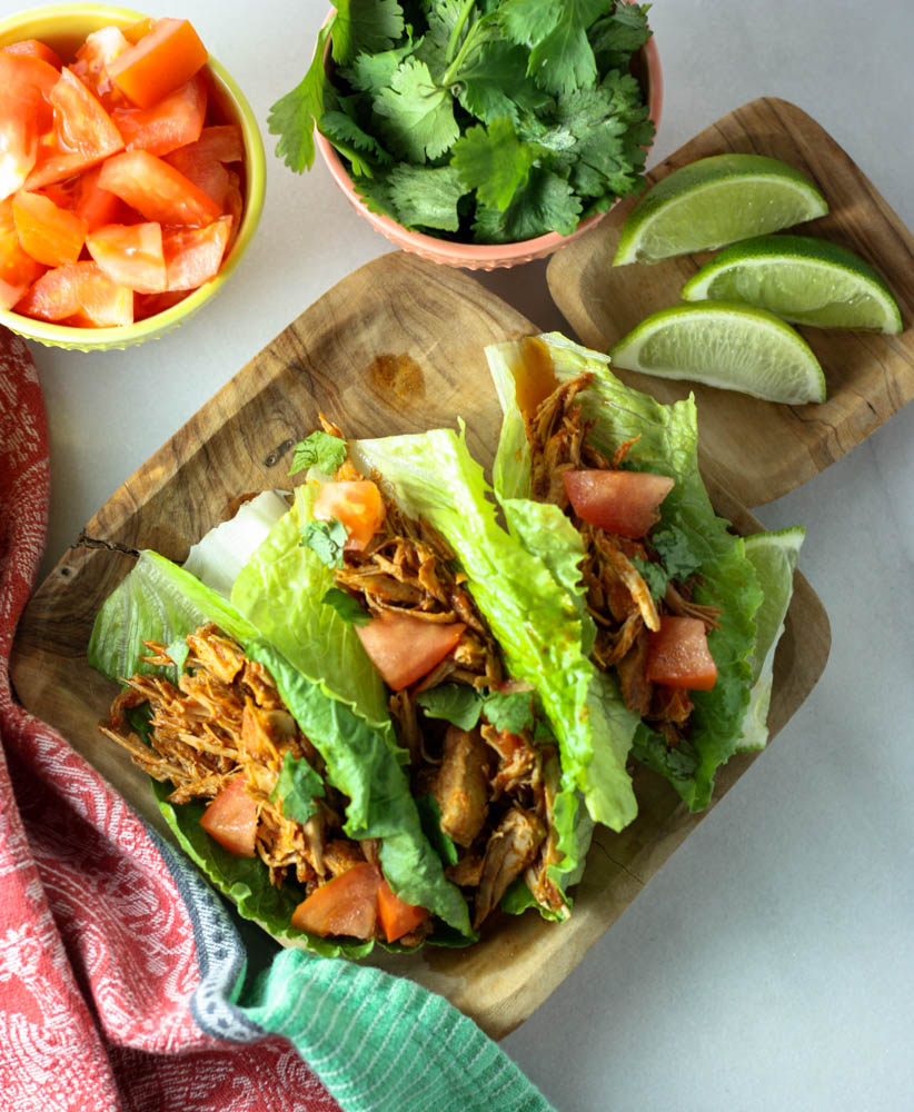 Crock Pot Pork Tacos Wrapped in Lettuce