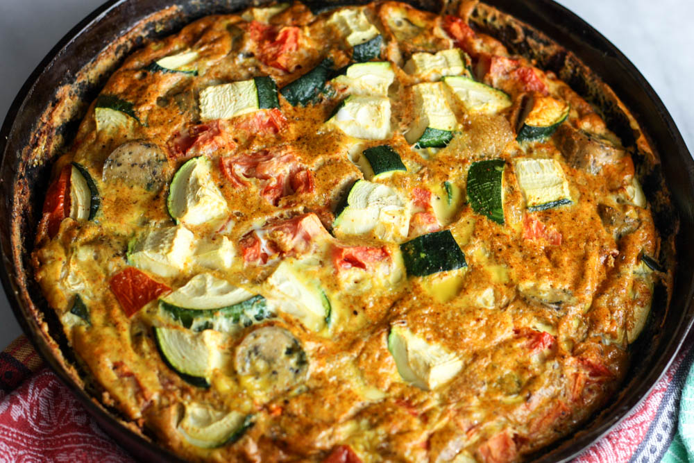 "Veggie & Sausage Quiche with ""Cheesy"" Dairy-Free Crust"