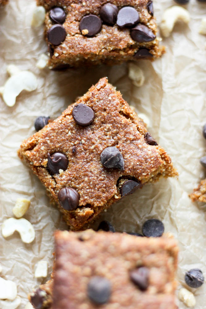 Grain Free Chocolate Chip Cashew Cookie Bars