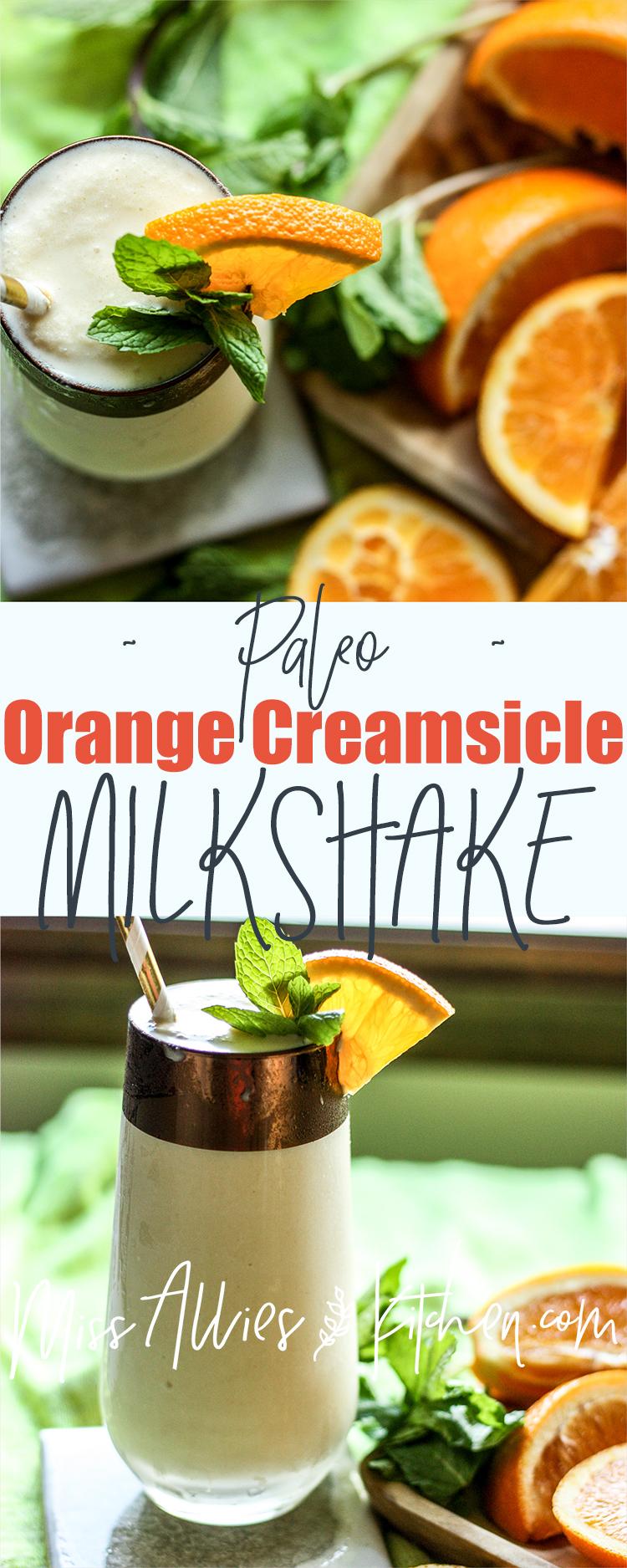 Paleo Orange Creamsicle Milkshake with Turmeric