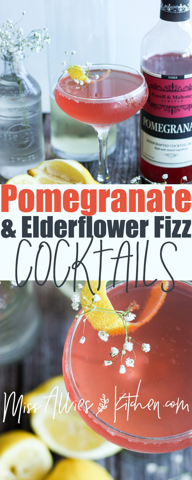 Pomegranate & Elderflower Fizz Cocktail