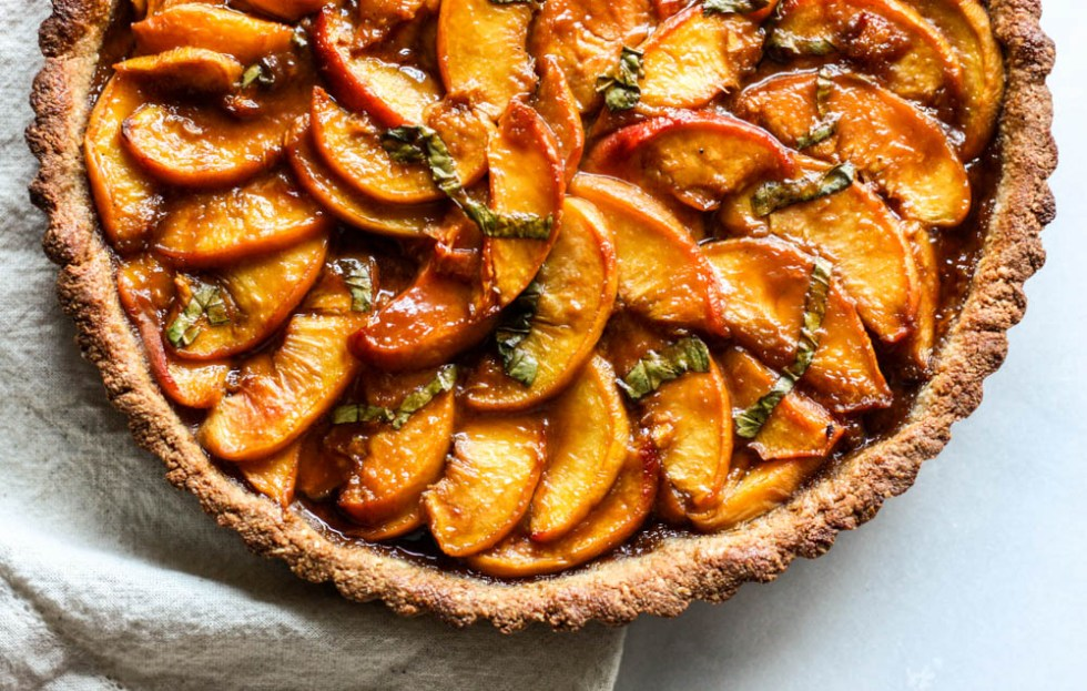 Paleo Peach Basil Tart with Cashew Crust