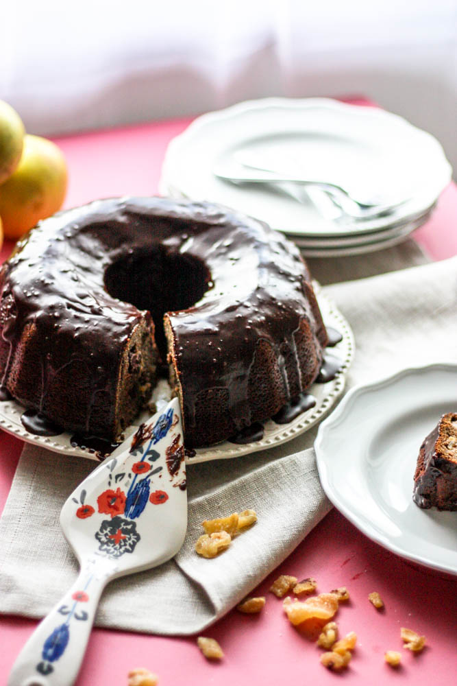 Whole Wheat Apple Ginger and Chocolate Chunk Cake