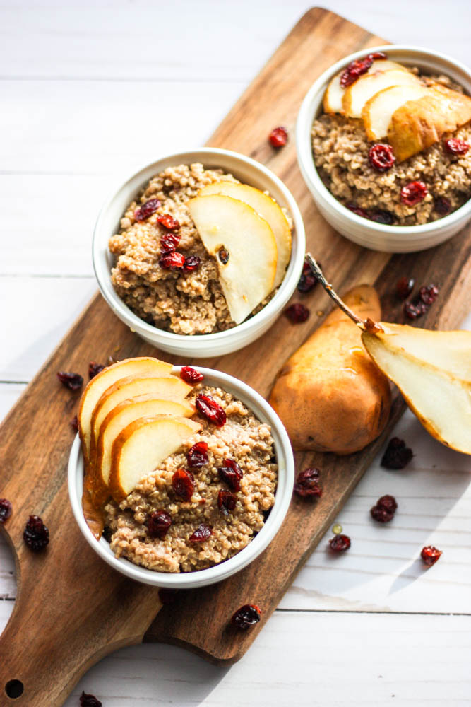 Chai Spiced Breakfast Quinoa with Bosc Pears