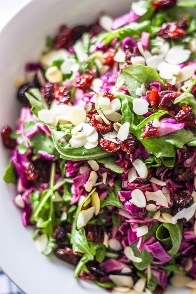 Purple Cabbage & Arugula Salad with Easy Dijon Vinaigrette