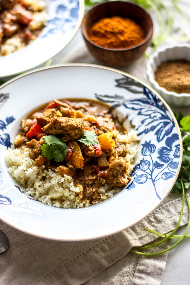 Whole30 Freezer Chicken Tiki Masala with Cauliflower Rice