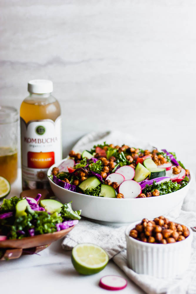 Crispy Chili Roasted Chickpea & Kale Salad with Ginger Lime Vinaigrette