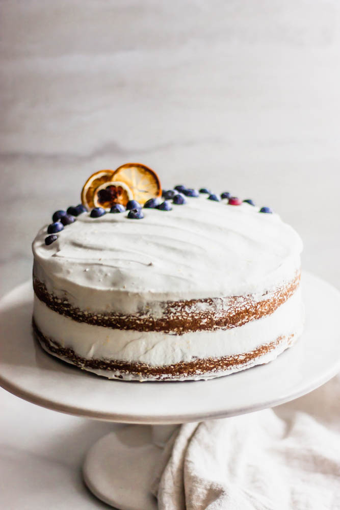 Dairy Free Lemon Blueberry Cake with Lemon Coconut Cream Icing