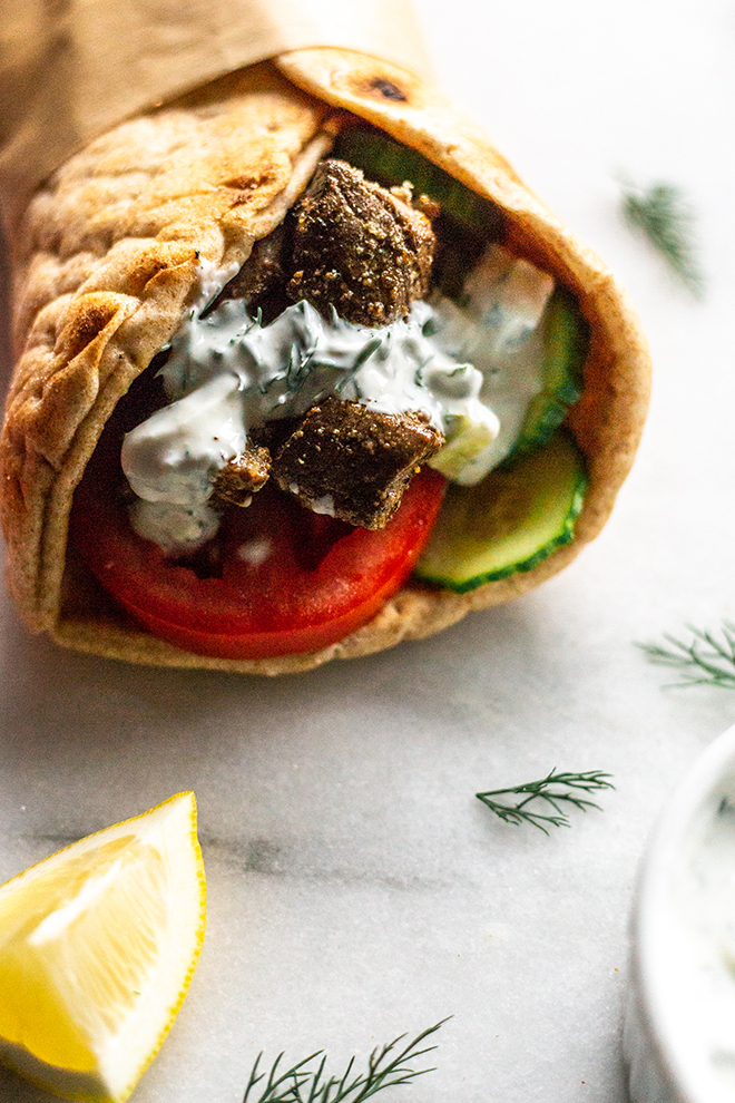 grilled deer meat in a gyro