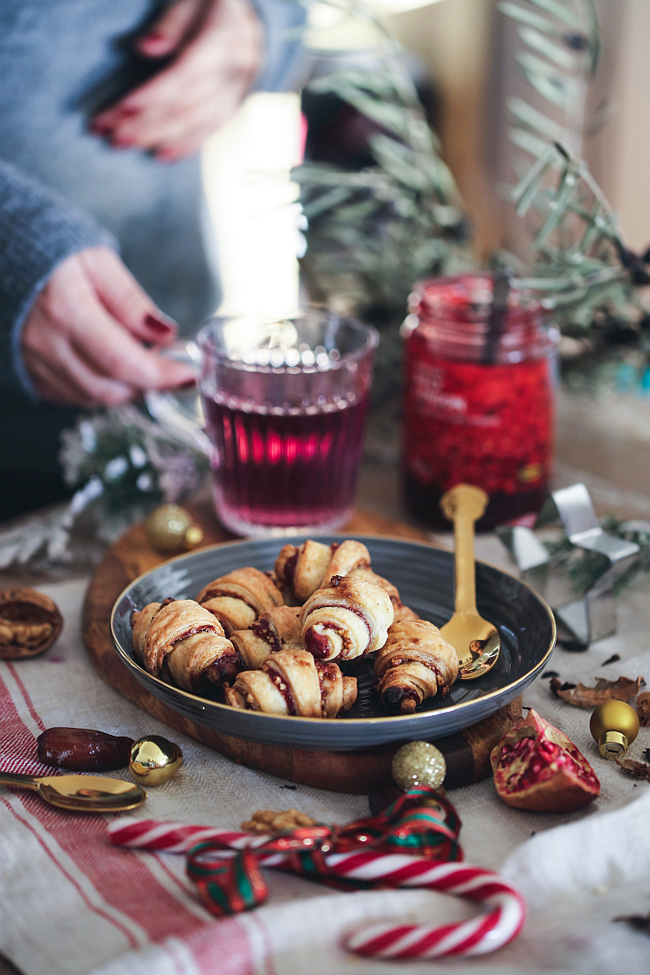 Lingonberry jam and walnuts rugelach