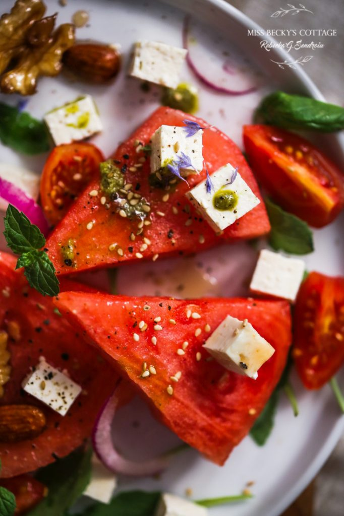 watermelon feta salad with honey soaked nuts