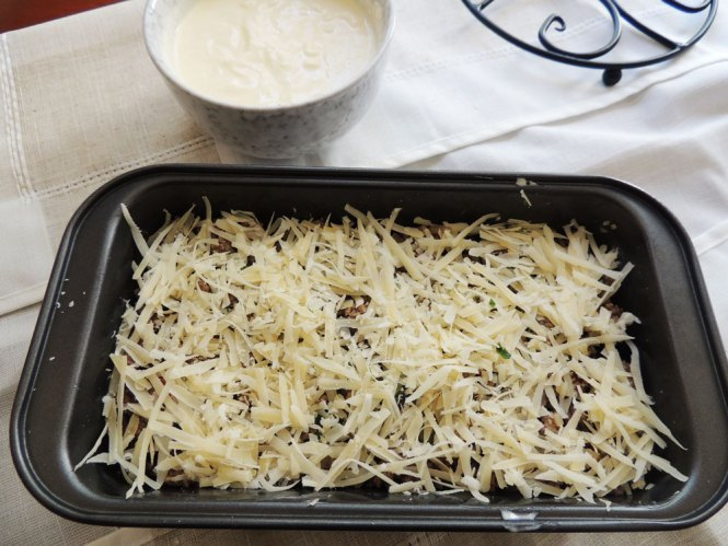 Meat and Potato Moussaka cheese layer