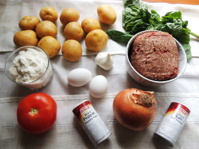 Meat and Potato Moussaka ingredients