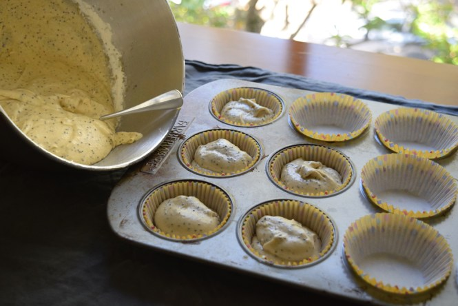 Fill muffin cups with citrus poppy seed muffin batter