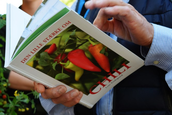 Guest reading chili book.