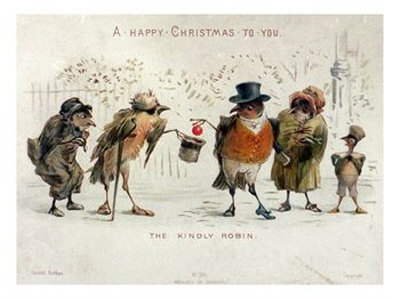 the kindly robin victorian christmas card the kindly robin
