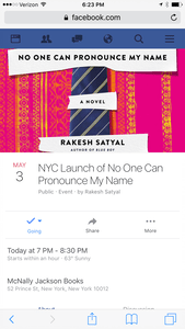 The No One Can Pronounce My Name Facebook Event Notice