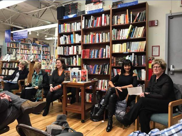 Me on a feminist mystery writing panel with fellow Missdemeanors Tracee de Hahn and Susan Breen.