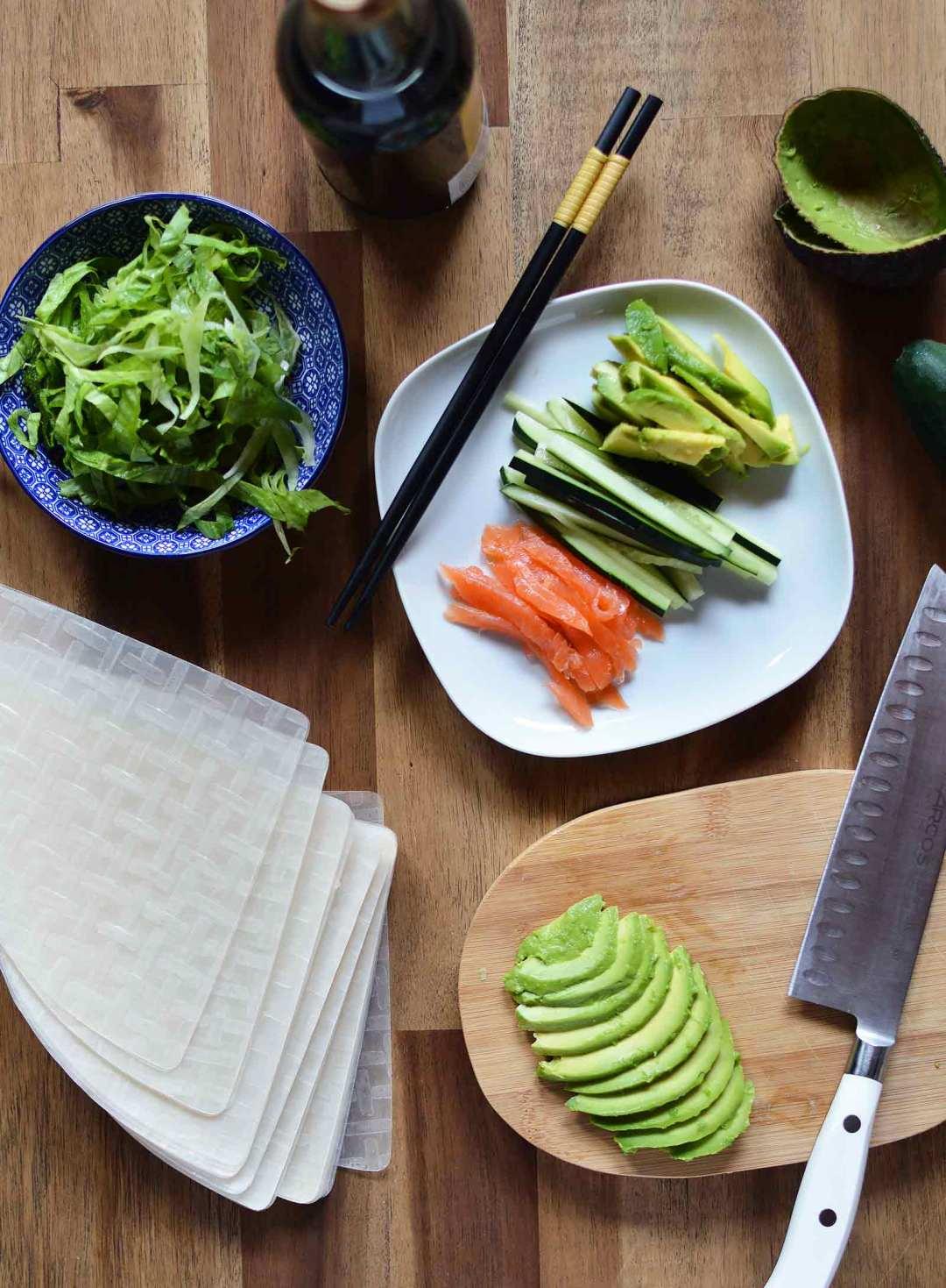 Ingredientes para los rollitos vietnamitas