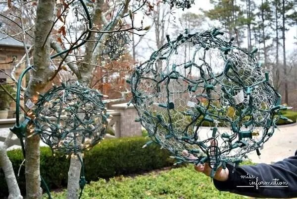 made out of chicken wire christmas balls - Christmas Decorations With Chicken Wire