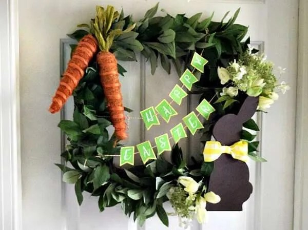 DIY Easter Wreath With Paper Easter Banner Miss Information