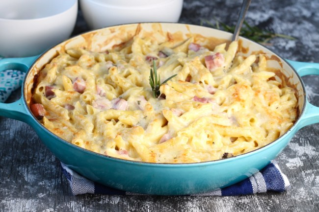 Baked Ham Penne Pasta in le creuset braiser with serving bowls