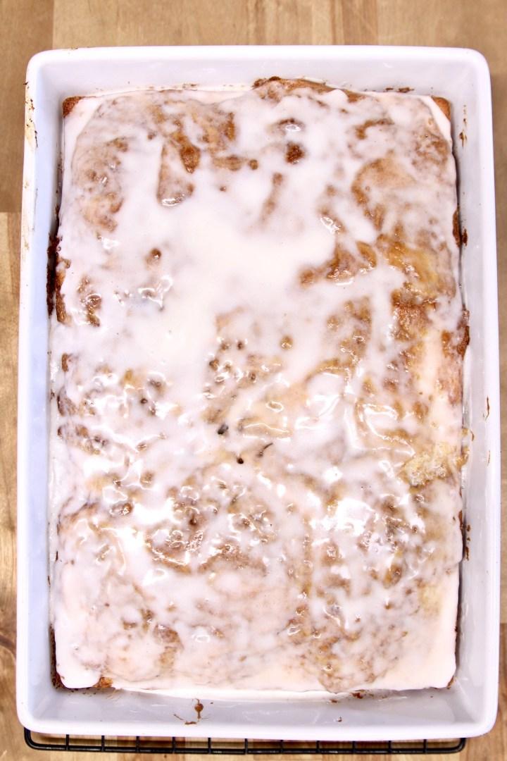 iced coffee cake in a 9 x 13 cake pan