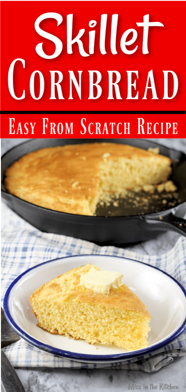 Easy Skillet Cornbread with butter