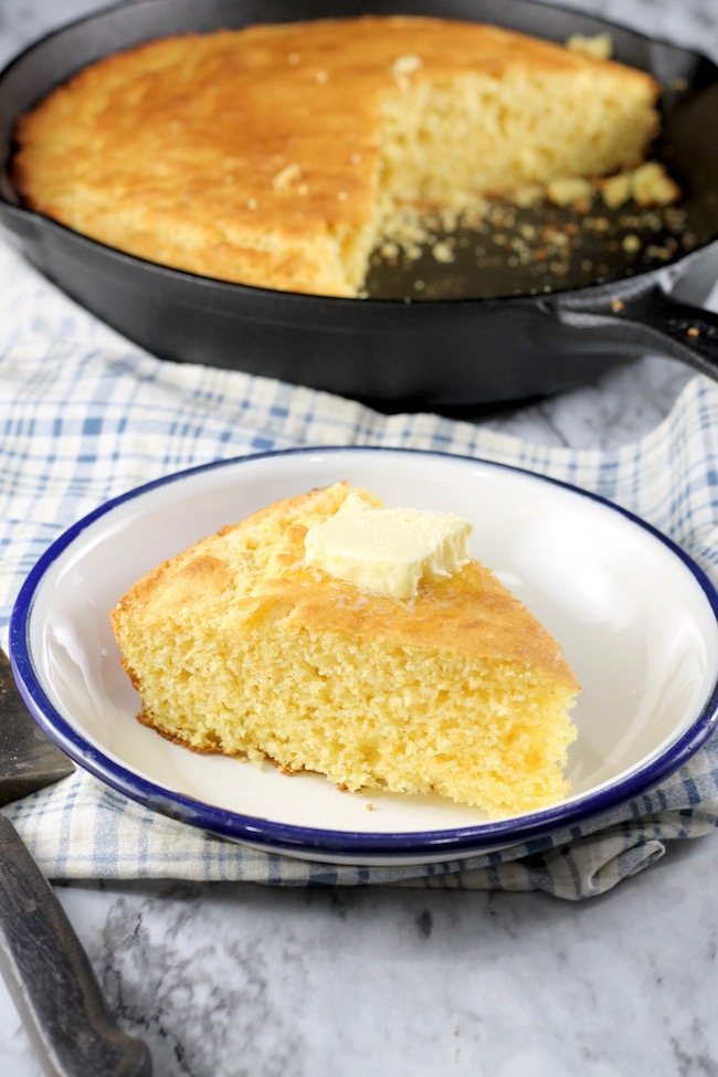 Skillet Cornbread with butter