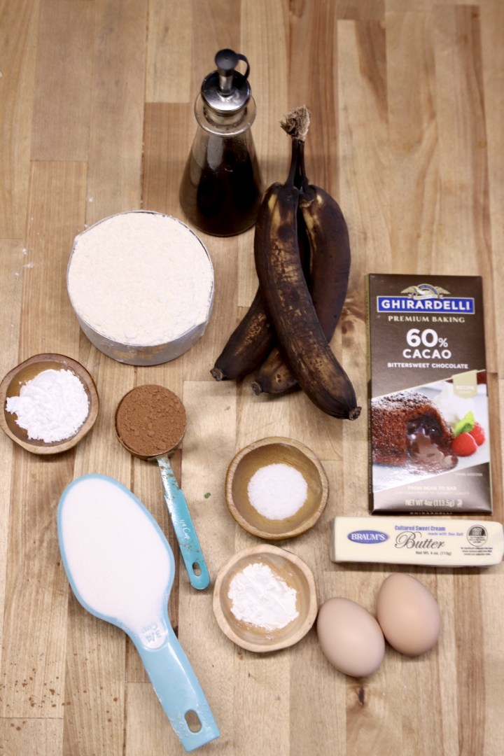 ingredients for chocolate banana bread