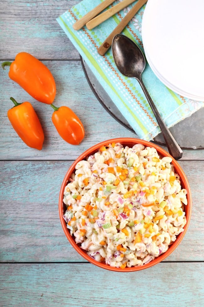 Bowl of The Best Macaroni Salad with sweet peppers
