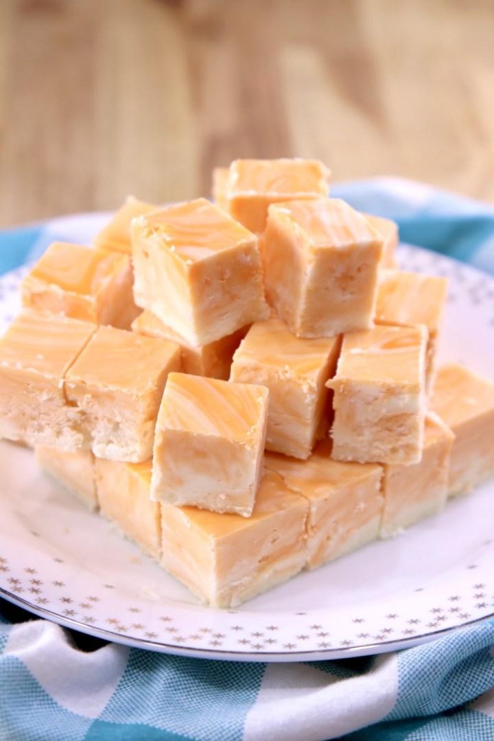 Plate of creamsicle fudge