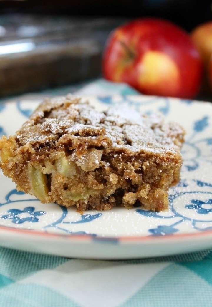Slice of fresh apple cake on a plate - closeup