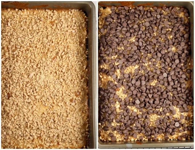 toffee bits and chocolate chips for toffee bars