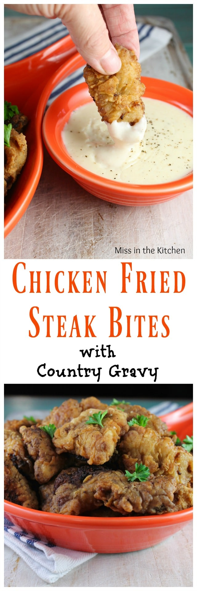 Recipe for Chicken Fried Steak Bites for the best comfort food meal! Get the recipe at MissintheKitchen.com