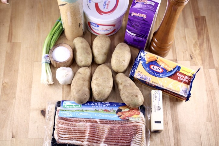Ingredients for twice baked potatoes
