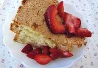Lemon Chiffon Cake with Strawberries