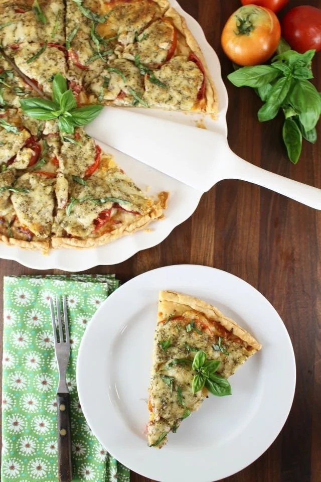 Tomato Pesto Tart Recipe is a delicious summer appetizer from MissintheKitchen.com