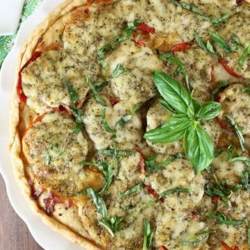 Tomato Pesto Tart Recipe ~ Summer Appetizer ~ MissintheKitchen.com