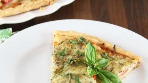 Tomato Pesto Tart Recipe from Southern Living Magazine. A summer favorite appetizer ~ MissintheKitchen.com