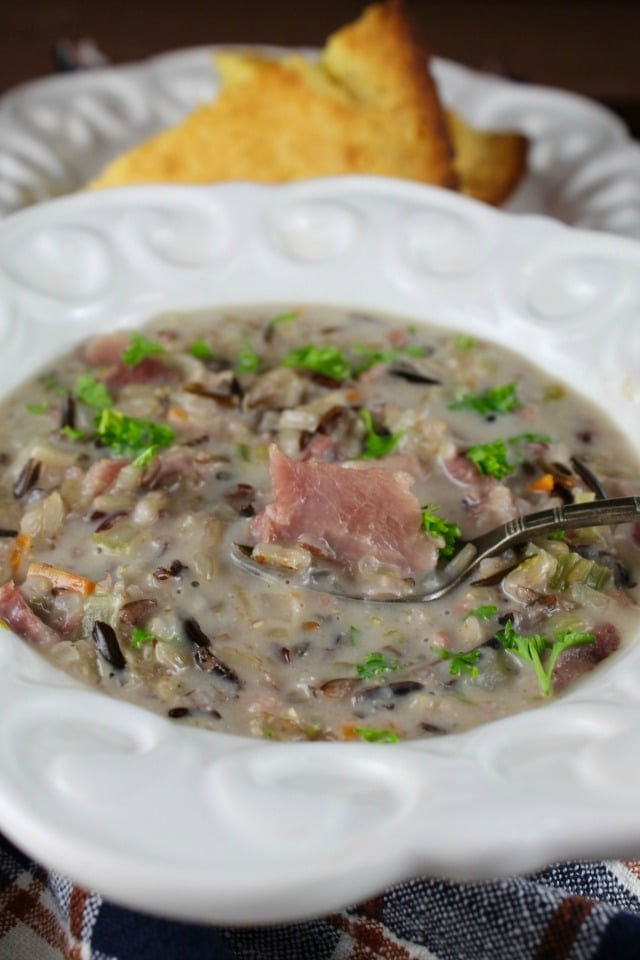 Creamy Ham and Wild Rice Soup Recipe. Delicious for leftover holiday ham. From MissintheKitchen.com