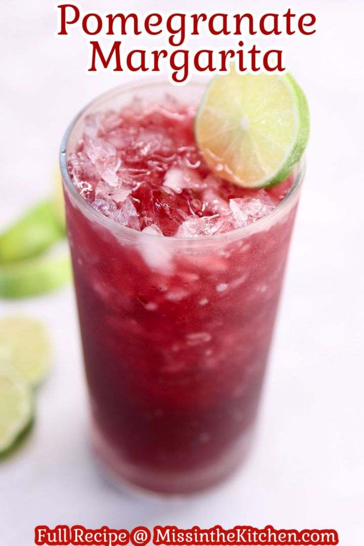 text overlay of pomegranate margarita with lime wheel