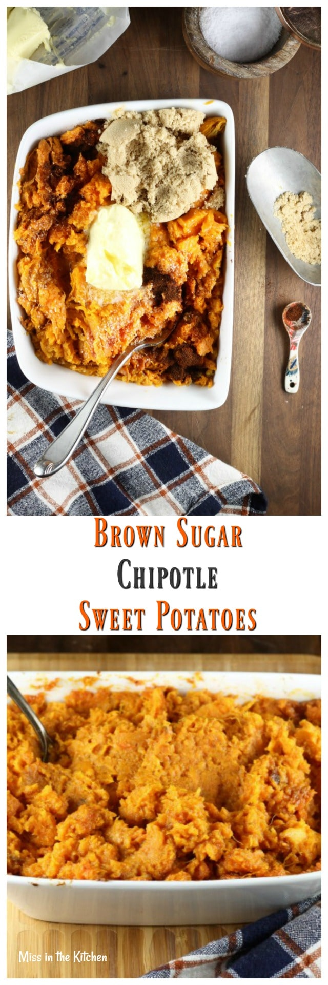 Brown Sugar Chipotle Sweet Potatoes Recipe from MissintheKitchen.com #holiday #thanksgiving